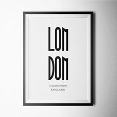 Black and white London poster design for home or office decoration.