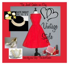 """Date Night Vintage Style"" by thejewelseeker-1 ❤ liked on Polyvore featuring Hermès, OPI, Estée Lauder, vintage, women's clothing, women's fashion, women, female, woman and misses"
