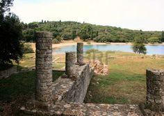 roman ruins in between the trees in national park Brioni, Croatia