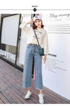 369221de453b97 XS-XL 2018 coréen chic style taille haute jeans pour femmes style coréen  femmes à jambes larges jeans denim femme (C1893) -