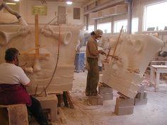 """TCS artisans hand carve + chisel stone ornamentation."" See it in Issue No.3 http://artisanalspecs.blogspot.com/2012/08/written-in-stone-richard-carbino-talks.html"