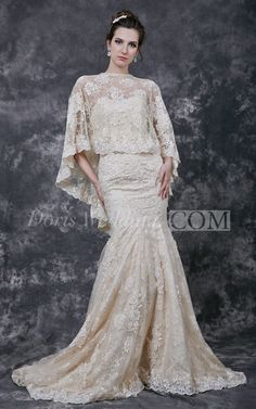 Lace and Sweetheart Lace Wedding Dress With Lace Cape. #lace #weddings #DorisWedding.com