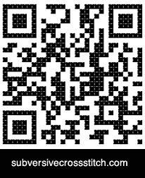 "QR Code for ""Get The Fuck Out Of My Cube"" via Subversive Cross Stitch - I have had a request for one already, so this will probably get made at some point."