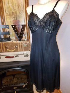 Vintage FULL SLIP DRESS French Rosette Lace GOSSARD 38-Ave Black 40s 50s Nylon #Gossard #FullSlips