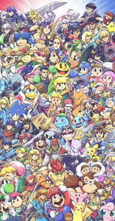 Everyone in the Smash Bros. Super Smash Bros Brawl, Super Smash Bros Characters, Nintendo Super Smash Bros, Super Mario Bros, Cartoon Wallpaper, Iphone Wallpaper, White Wallpaper, Gaming Wallpapers, Animes Wallpapers