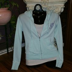 Mint Blue VS Pink Zip Up Bling Hoodie Super cute VS Pink hoodie! Does have some slight fading and slight pilling other than that everything is great! No Bling missing! PINK Victoria's Secret Tops Sweatshirts & Hoodies