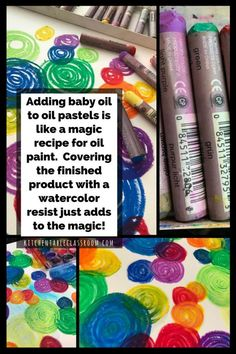 If you've got a list of supplies to keep available for your kids oil pastels should make the cut. I've used oil pastels for many things but this is new!