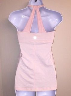 Lululemon Pink Striped Halter Style Racerback Athletic Shirt Sz 8 EUC