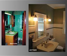 Bathroom renovation by Liska Architects. Notice the restored original window for natural daylight and ventilation.