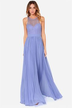 Refined and dandy, the Bariano Lacie Periwinkle Lace Maxi Dress practically invented splendor! Sheer lace tops a sweetheart bodice, with a pleated maxi skirt below! Periwinkle Wedding, Periwinkle Dress, Purple Dress, Blue Bridesmaids, Blue Bridesmaid Dresses, Wedding Dresses, Prom Dresses, Club Dresses, Formal Dresses