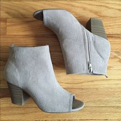 Peep toe Booties Perforated Peep toe Booties • Perfect for the Spring, Summer & Fall • 2-1/2 heel height •  very comfy and pairs up cute with skirts, shorts, jeans & short summer dresses • get creative, let your inner fashionista shine thru • grayish taupe color • only tried on in store but never worn outside  No Trades  Old Navy Shoes Ankle Boots & Booties