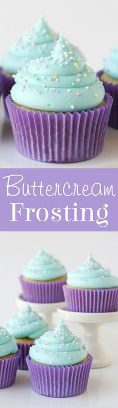 This classic American Buttercream Frosting is easy to make, delicious and perfect for frosting cakes, cupcakes and cookies! This classic American Buttercream Frosting is easy to make, delicious and perfect for frosting cakes, cupcakes and cookies! American Buttercream Frosting Recipe, Best Frosting Recipe, Homemade Frosting, Frosting Recipes, Cupcake Recipes, Cupcake Cakes, Dessert Recipes, Frosting Tips, Cookie Frosting
