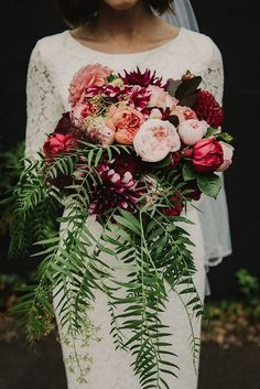 20 Stunning Wedding Bouquets with Ferns Fern Wedding Bouquet with Pe. - 20 Stunning Wedding Bouquets with Ferns Fern Wedding Bouquet with Peonies, Roses, and Zinnias - Trendy Wedding, Floral Wedding, Wedding Colors, Dream Wedding, Glamorous Wedding, Wedding Things, Elegant Wedding, Burgundy And Blush Wedding, Burgundy Bouquet