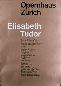 Opernhaus Zürich - Elisabeth Tudor - Oper von Wolfgang Fortner - Schweizerische Erstaufführung-Plakat