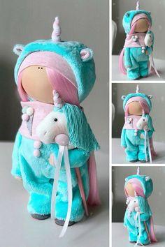 Unicorn Tilda Doll Handmade Fabric Doll Poupée Art Doll Bambole Rag Doll Muñecas Green Winter Decor Doll Textile Cloth Doll by Yulia K Unicorn Doll, Free To Use Images, Soft Dolls, Cute Dolls, Fabric Dolls, Baby Dolls, Doll Clothes, Sewing Projects, Barbie