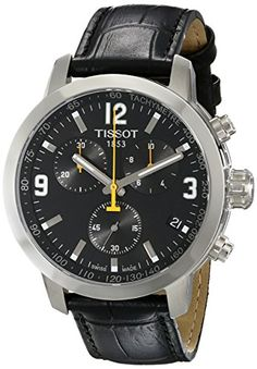 Now available Tissot Men's TIST0554171605700 PRC 200 Chronograph Stainless Steel Watch with Black Leather Band