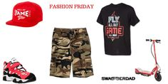 """SON  The Pinch Snapback  Quiksilver Camo Shorts  Nike """"Jordan Fly All Dat Tee""""  Nike Training Sneakers  Razor Scooter  - See more at: http://swaggerdad.com/#sthash.aPakzy2w.dpuf"""