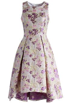 Glitter Blossom Jacquard Waterfall Prom Dress - Retro, Indie and Unique Fashion