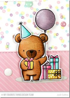 card with critters bear MFT Beary Special Birthday Stamp Set Die-namics #mftstamps balloon balloons #balloon
