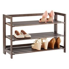 $33.99 Keep Your Favorite Shoes Organized And Accessible With This  Fashionable Wooden Rack. Three Shelves