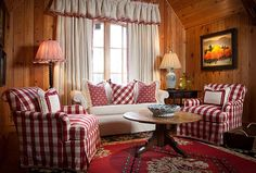 Francie Hargrove sitting area with red buffalo checks