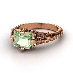Acadia ring in green amethyst and rose gold.