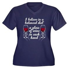 Wine Diet Women's Plus Size V-Neck Dark T-Shirt. I believe in a balanced diet - a glass of wine in each hand. Funny gift for anyone who loves wine!