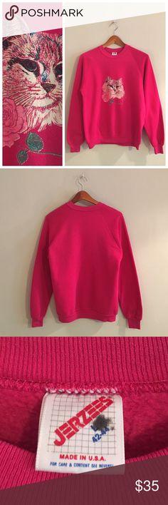 Vintage Flower Cat Sweatshirt Adorable vintage 80s 90s girly pink rose cat sweatshirt size Large Vintage Tops Sweatshirts & Hoodies