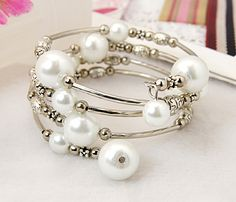 Fashion Wrap Bracelets, with Glass Pearl Beads, Tibetan Style Beads and Steel Bracelet Memory Wire, White, 55mm