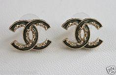 Green Gold CC Enamel Earrings