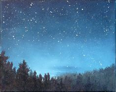 Night sky small stars landscape painting, astronomy, starry night ✶✶✶