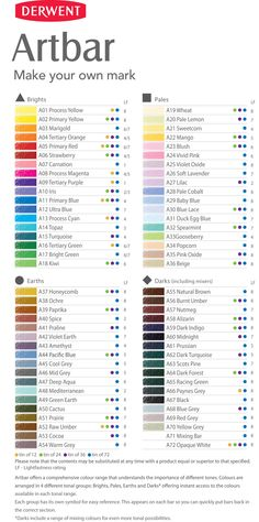 Colour Chart for the full range of 72 Derwent Artbars.