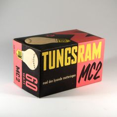 Tungsram box I'm cracy about this box! It's probably from the and it has so many dimensions when it comes to the design. The typography is used both for information and as decorative elements and. Retro Packaging, Wine Packaging, Brand Packaging, Packaging Design, Retro Typography, Typographic Design, Prop Design, Bottle Design, Retro Design