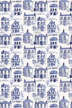 Maison (F0592/03) - Clarke & Clarke Fabrics - An all over fabric design featuring various stylized houses. Shown here in delft blue on off white. Other colourways are available. Please request a sample for a true colour match.