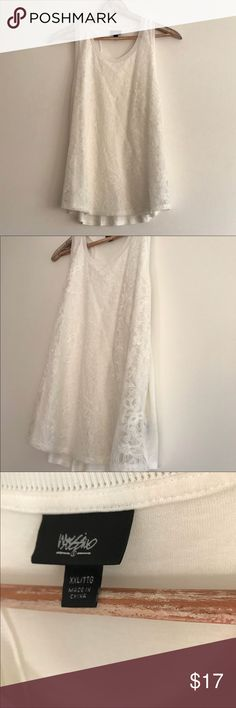 White Mossimo XXL Lace Detail Tank White Mossimo XXL Lace Detail Tank. EUC. Soft and comfortable. Can be dressed up with a nice solid blazer. Mossimo Supply Co Tops