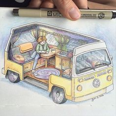 The new American dream? 🚐🌈 love me a 1950s style home life cutaway 😉 #vanlife #sketch #wanderlust
