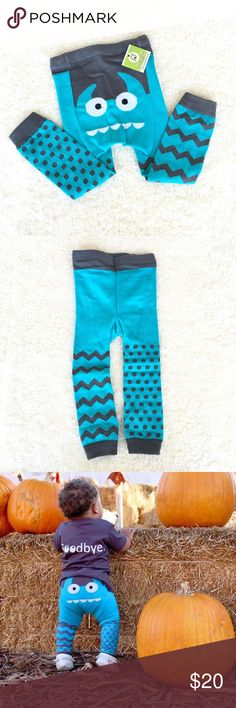 Blue Monster Knit Leggings Footless Blue Monster Doodle Pants. Perfect for your lil guy's fall/winter wardrobe or as a baby gift!   Cozy & thick poly/spandex construction with reinforced seams. Extra room in the back for baby's diaper booty ;)  Bundle with the matching Hello Monster Tee for 10% off! Doodle Pants Bottoms Casual
