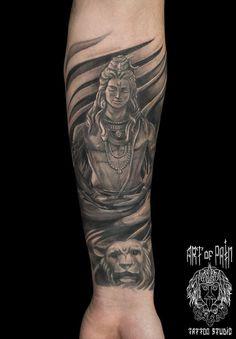 Tattoo Anton Strelkov - tattoo's photo In the style Whip Shading, Male, Girls, Buddhist Bholenath Tattoo, Kali Tattoo, Mantra Tattoo, Shiva Tattoo Design, Ganesha Tattoo, Arm Band Tattoo, Hindu Tattoos, God Tattoos, Body Art Tattoos