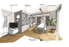 Croquis architecture intérieure-Dominique JEAN pour EDECO Rénovation-verrière noire-parquet chêne.