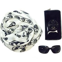 Accessories Of The Day: #AlexanderMcQueen scarf, #ToryBurch wallet, #Chanel sunnies! #skulls #accessorize #blackandwhite #designerresale #shopping #dressraleighnc Call to order or consign 919.699.6505!