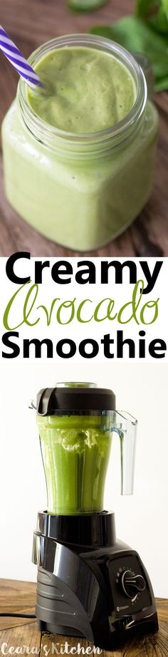 A creamy, dreamy Vanilla Avocado Smoothie filled with over a cup of greens!! Pour this smoothie into a jar for a delicious and healthy breakfast on the go! #Vegan #GlutenFree #GreenSmoothie