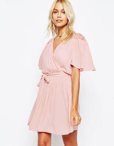 a2cc7e29f8c ASOS Wrap Front Dress with Lace Detail Wrap Dress