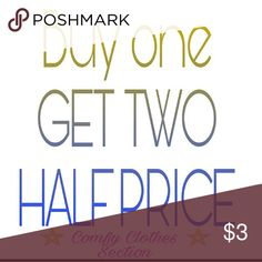 Buy one - Get TWO half price! ????? Anything between the two ?COMFY CLOTHES ? posts (26 items) are included in the sale.   Buy one full price, select TWO more of your choice for half price. Every set of 3 will reflect the savings.   Must be within the two teal signs that announce the start and end of available items.   Enjoy shopping, any questions please don't hesitate to ask.   Happy shopping ????? Jeans