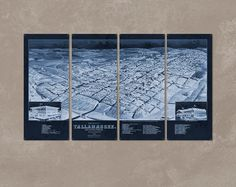 This all-metal quadriptych was created using a vintage map of Tallahassee, Florida, circa 1885.  The color style is a dark faded blueprint.  Each sleek panel measures 17x40, for a total display size of 68x40, and is made from steel.  Each corner is drilled and riveted for instant display.  I will ship this for FREE anywhere in the lower 48.  *** Good art takes time! I make each of these pieces to order, and it takes typically takes me about 15 business days to produce once the payment has…