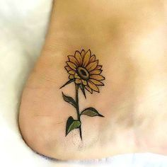 Side of Heel Sunflower Tattoo Idea