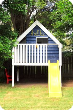 45 Magically Sweet Backyard Playhouse Ideas for Kids Garden - caindale news Outside Playhouse, Backyard Playhouse, Build A Playhouse, Backyard Playground, Backyard For Kids, Playhouse Ideas, Simple Playhouse, Backyard Ideas, Outdoor Play Spaces