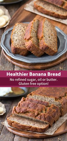 Healthy greek yogurt banana bread that is refined sugar, oil or butter free. This banana bread uses honey and the sweetness of ripe bananas! This healthy banana bread has been tested gluten free too! No Sugar Banana Bread, Banana Bread With Applesauce, Greek Yogurt Banana Bread, Whole Wheat Banana Bread, Gluten Free Banana Bread, Greek Yogurt Recipes, Healthy Banana Bread, Recipe For Sugar Free Banana Bread, Healthy Gluten Free Bread