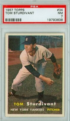 1957 Topps Baseball 34 Tom Sturdivant Yankees PSA 7 Near-Mint by Topps. $25.00. This vintage card featuring Tom Sturdivant is # 34 from the 1957 Topps Baseball set