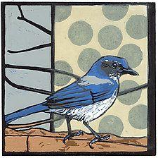 "Scrub Jay by Barbara  Stikker (Linocut Print) (20"" x 19"")"
