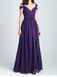 Stylish V-neck Floor-Length Purple Ruched Bridesmaid Dress Backless- can also be made in a lighter purple